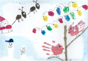 2017 Christmas Card competition: 1st place picture, reindeer, robins and snowman made with hand and thumb prints