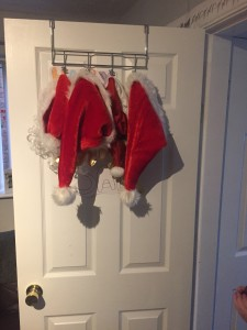 Christmas hats hanging ready